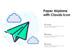 Paper Airplane With Clouds Icon