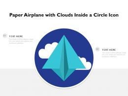Paper Airplane With Clouds Inside A Circle Icon