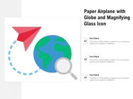 Paper Airplane With Globe And Magnifying Glass Icon