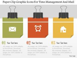 Paper Clip Graphic Icons For Time Management And Mail Flat Powerpoint Design