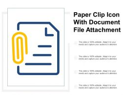 Paper Clip Icon With Document File Attachment