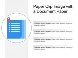 Paper Clip Image With A Document Paper