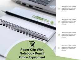 Paper Clip With Notebook Pencil Office Equipment