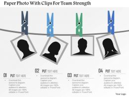 Paper Photo With Clips For Team Strength Flat Powerpoint Design