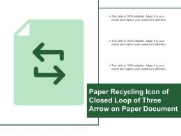 Paper Recycling Icon Of Closed Loop Of Three Arrow On Paper Document