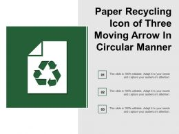 Paper Recycling Icon Of Three Moving Arrow In Circular Manner