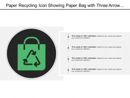 Paper Recycling Icon Showing Paper Bag With Three Arrow Recycle