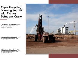 Paper Recycling Showing Pulp Mill With Factory Setup And Crane