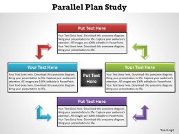 parallel plan study 4 stages with textboxes and center powerpoint diagram templates graphics 712