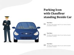 Parking Icon With Chauffeur Standing Beside Car