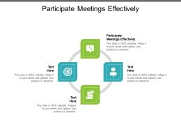 Participate Meetings Effectively Ppt Powerpoint Presentation Pictures Show Cpb