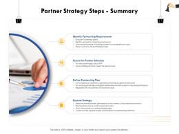 Partner Strategy Steps Summary Cost Benefit M360 Ppt Powerpoint Presentation File Slides