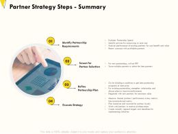 Partner Strategy Steps Summary Existing Partnerships Ppt Powerpoint Presentation Styles File Formats