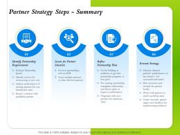 Partner Strategy Steps Summary Partnership Requirements Ppt Powerpoint Presentation Rules