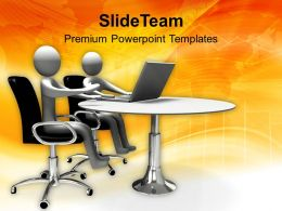 Partners Sitting In Conference With Laptops Powerpoint Templates PPT Themes And Graphics 0113