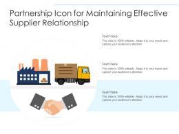 Partnership Icon For Maintaining Effective Supplier Relationship