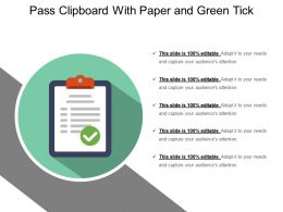 Pass Clipboard With Paper And Green Tick