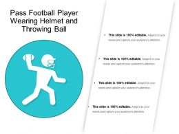 Pass Football Player Wearing Helmet And Throwing Ball
