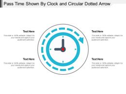 Pass Time Shown By Clock And Circular Dotted Arrow