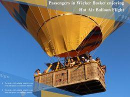 Passengers In Wicker Basket Enjoying Hot Air Balloon Flight