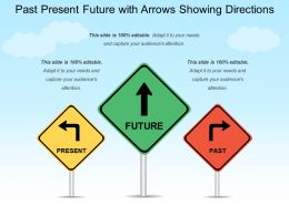 Past Present Future With Arrows Showing Directions