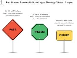 Past Present Future With Board Signs Showing Different Shapes