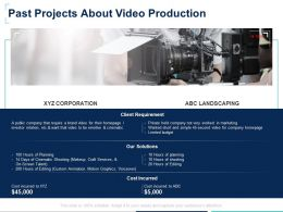Past Projects About Video Production Cost Incurred Ppt Presentation Slides Skills