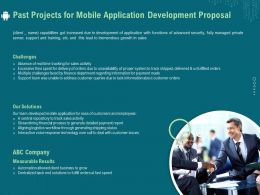 Past Projects For Mobile Application Development Proposal Ppt Template