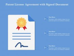 Patent License Agreement With Signed Document