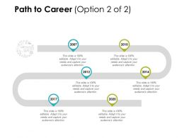 Path To Career Years Roadmap Ppt Powerpoint Presentation Infographics Files