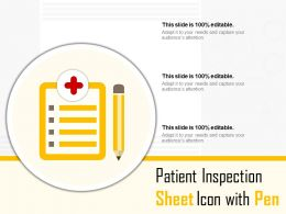 Patient Inspection Sheet Icon With Pen