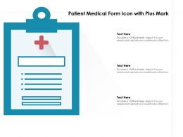 Patient Medical Form Icon With Plus Mark