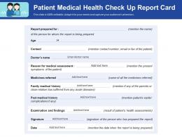 Patient Medical Health Check Up Report Card