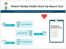 Patient Weekly Health Check Up Report Card