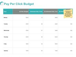 Pay Per Click Budget Ppt Powerpoint Presentation Mockup