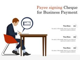 Payee Signing Cheque For Business Payment
