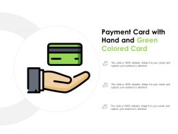 Payment Card With Hand And Green Colored Card