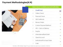 Payment Methodologies Check Business Management Ppt Clipart