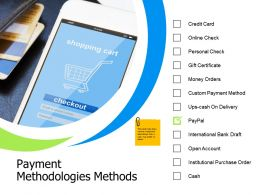 Payment Methodologies Methods Online Check Ppt Powerpoint Presentation File Samples