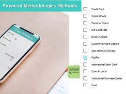 Payment Methodologies Methods Ppt Powerpoint Presentation File Good