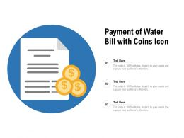 Payment Of Water Bill With Coins Icon