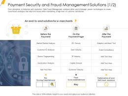 Payment Security And Fraud Management Solutions Analysis Ppt Infographics Aids