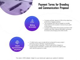 Payment Terms For Branding And Communication Proposal Ppt Format Styles