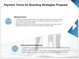 Payment Terms For Branding Strategies Proposal Ppt Powerpoint Presentation Icon Guide