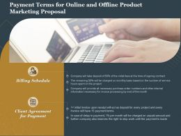 Payment Terms For Online And Offline Product Marketing Proposal Ppt Show