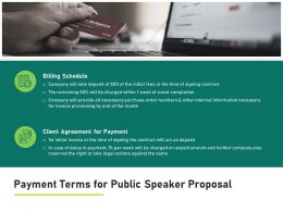 Payment Terms For Public Speaker Proposal Billing Schedule Ppt Presentation Summary Aids