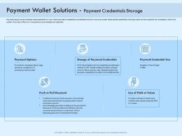 Payment Wallet Solutions Payment Credentials Storage Digital Payment Online Ppt Rules