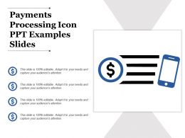 Payments Processing Icon Ppt Examples Slides
