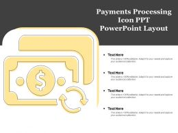 Payments Processing Icon Ppt Powerpoint Layout