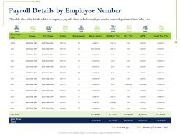 Payroll Details By Employee Number Basic Salary Ppt Powerpoint Ideas